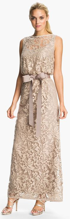 nude maxi lace dress @roressclothes closet ideas #women fashion outfit #clothing style apparel