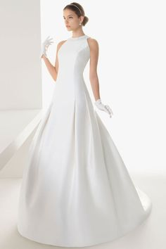 2015 Simple Stain Jewel Court Train A Line Garden Wedding dress