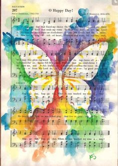 Reverse watercolor stencil butterfly sheet music.