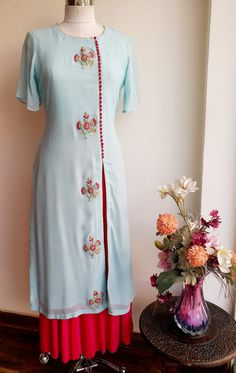 Powder Blue Kurta with Gota Patti bootas and Front slit combined with Fuschia Pink Skirt Salwar Designs, Kurti Neck Designs, Kurta Designs Women, Kurti Designs Party Wear, Blouse Designs, Punjabi Suit Neck Designs, Kurti Embroidery Design, Embroidery Dress, Embroidery Fashion