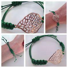 Pulsera hoja con cordón verde