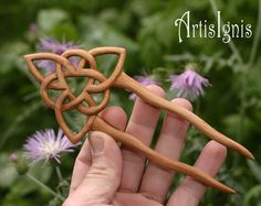 Fellowship Celtic Knot Hair Pin, handcarved in Alder Wood, Two Pronged Handmade… Celtic Knot Hair, Love Spoons, Wood Spoon, Bow Accessories, Celtic Art, Wood Creations, Celtic Designs, Wine Charms, Hair Sticks