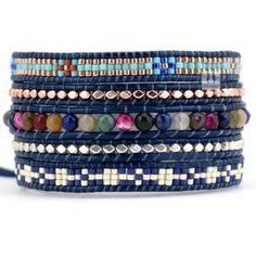 Beaded Wrap Bracelet; Tribal Bohemian - Natural Stones with Mixed Seed Beads 5X Wrap - Ethic Pattern Wrap OOAK