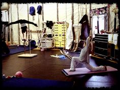 Iuliia (Miranda) and Marie-Michelle (Moon Goddess) warm up in the artistic tent in Seattle.