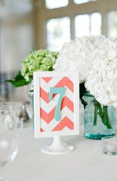 chevron, Summer, beach, blue, centerpieces, coral, decor, decoracion, decorations, diy, numbers, palette, reception, table, photo, wedding, Stevensville, Maryland