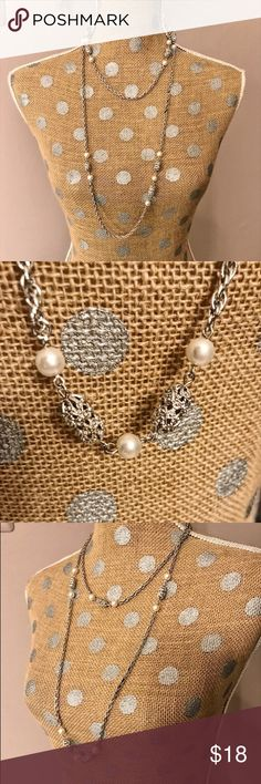 Sarah Coventry✨Long Silver Necklace Pretty silver tone filigree ball and pearl costume necklace. Great condition. Sarah Coventry Jewelry Necklaces