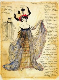 You can leave your hat on …..  Léon Bakst (Jewish-Belarusian, 1866-1924) - Decadent Dress for Mrs. Legar    Born as Lev (Leib) Samoilovich Rosenberg, also known as Leon (Lev) Nikolayevich Bakst, was a Jewish-Belarusian painter and scene- and costume designer. He was a member of the Sergei Diaghilev circle and the Ballets Russes, for which he designed exotic, richly coloured sets and costumes.