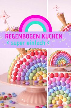 Rainbow cake - simple recipe - Kindergeburtstag Kuchen I Ideen I Motto - Cake Simple, Black Sesame Ice Cream, Spice Cupcakes, Savoury Cake, Ice Cream Recipes, Eat Cake, Cake Recipes, Easy Meals, Martini