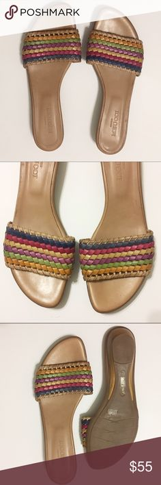 Sesto Meucci Multi Woven Leather Slides Sandals Italian leather upper and sole woven intricately for a timeless design. Sandals are in great condition. Size 9. Sesto Meucci Shoes Sandals