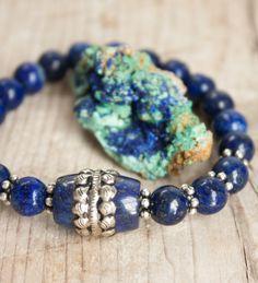 Pulsera Lapis Lazuli Plata TibetanaJoyería por MartaDissenys