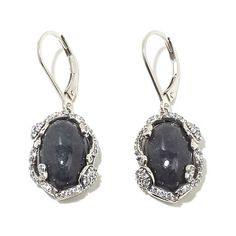 Jade of Yesteryear Charcoal Jade and CZ Frame Earrings