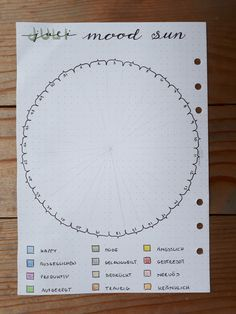 Bullet Journal Circular Mood Tracker - Mood Sun