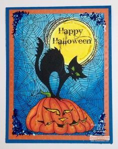 #Cre8time for colorful pumpkin cat and glittery finishes. #Stampendous #ChameleonPens