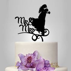 $14, bride and groom silhouette cake topper,  funny acrylic cake topper, mr mrs topper, unique wedding cake topper