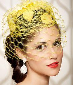 Yellow Garden Wedding Hat Bridal Head Piece by gildedshadows,