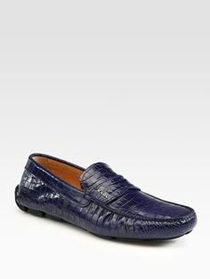 Prada Stamped Croccodile Leather Drivers