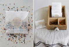 Glassine envelopes of birdseed confetti