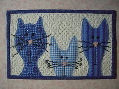Mug Rug, but loving these adorable kitties as inspiration for blocks to make my Grandson a Cat Quilt! Too cute!! ^-,-^