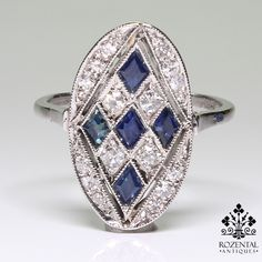 Period: Art deco (1920-1935) Composition: Platinum Stones: - 16 Single cut diamonds of I-VS2 quality that weigh 0.40ctw. - 5 Natural calibrated sapphires that weigh 0.50ctw. Ring size: 7 1/2 Ring face
