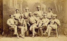 1869 Antioch College Club which was beaten by the Red Stockings 45-10 on October 24, 1869 in Yellow Springs, Ohio. Front row (L to R): Hod Frost, Right Field; Thad Carr, Catcher; Hugh Taylor Birch, Pitcher; Arthur Elliott Third Base; Dan Stone, Left Field. Back Row (L to R): Cliff Bellows, Second Base; Sam Beals, First Base; Matt Corry, Center Field; Edward Felthausen Short Stop