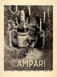 1938 French Ad Campari Christmas Tree Jacques Branger - ORIGINAL ADVERTISING