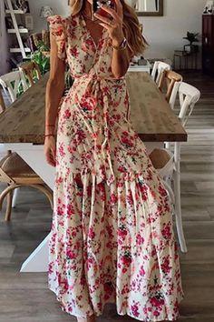 Women Summer Floral Print Long Maxi Dress Boho Beach Dress Short Sleeve Dress Maxi Wrap Dress, Maxi Dress With Sleeves, Boho Dress, Lace Dress, Bohemian Summer Dresses, Dress Beach, Dress Red, Look Girl, Beachwear For Women