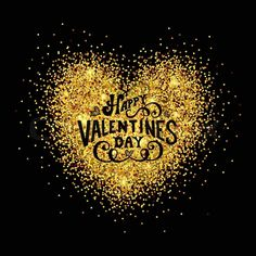 Stock vector of 'Hand sketched Happy Valentine's Day on glitter golden heart background. Hand drawn lettering typography for Valentine's Day card template. St. Valentine's Day golden banner, flyer. Romantic quote background'