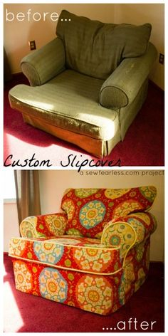 I love this idea an have a couch and loves seat to recover but I'm not sure I am this talented. I want this Custom Slipcover. -Kimi
