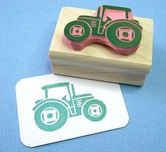 Mini Tractor Hand Carved Rubber Stamp  Great for little boys bathroom towels