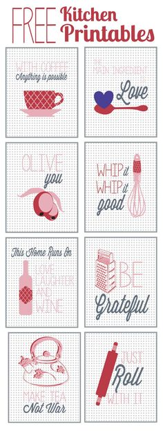 Free Kitchen Printables {lots of color options} Auf thehappyhousie.com http://www.pinterest.com/KarlaKarlaj/scrapbooking-journaling/