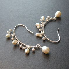 Coriandr / IsabellaGems / Bianca - White Pearl Delicate Branch Earrings