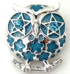 Silver Blue Owl Rhinestone 20mm Snap Interchangeable For Ginger Snaps Jewelry