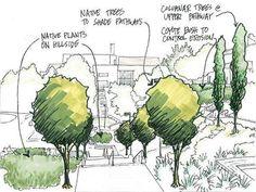 Landscape Architecture Drawing Design Sketch 18 New Ideas Landscape Architecture Drawing, Landscape Sketch, Landscape Drawings, Landscape Plans, Urban Landscape, Landscape Design, Sketch Architecture, Landscape Architects, Tree Sketches
