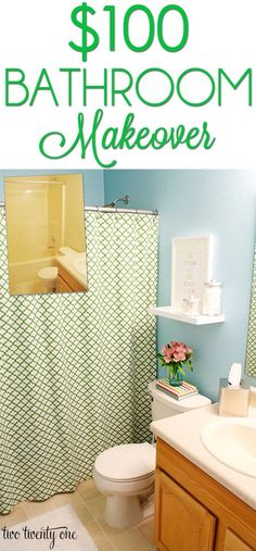 Budget bathroom makeover using new, thrifted, and previously owned items!