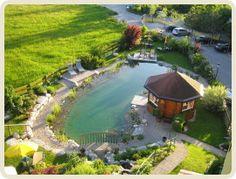 Der Schwimmteich vom Hotel Sonnleitn in Fuschl am See. Dekadent, aber schön: Baden im Schwimmteich mit Blick auf den gleich nebenan liegenden See. Warum mit allen anderen in den See gehen, wenn man im Schwimmteich schwimmen kann ;)