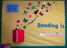 """Reading is Magic!"" A little bulletin board action! Reading Corner Classroom, Reading Bulletin Boards, Bulletin Board Display, Classroom Bulletin Boards, Preschool Bulletin, School Library Displays, Classroom Displays, School Libraries, Class Decoration"