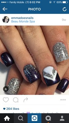 New Manicure Designs Ombre Silver Glitter 57 Ideas Fancy Nails, Love Nails, Trendy Nails, How To Do Nails, Gel Nails, Acrylic Nails, Nail Nail, Nail Glue, Nail Polish
