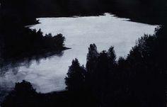 Rafal Borcz, Lake, gouache on paper, art, painting, modern art, landscape, modern lanscape, black and white