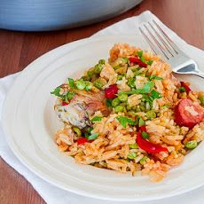 Arroz Con Pollo Recipe Main Dishes with olive oil, chicken thighs, sausage links, onion, garlic, bell pepper, beer, white wine, chicken broth, long-grain rice, tomato paste, frozen peas, ground cumin, oregano, salt, bay leaves, chicken bouillon, roasted red peppers, chopped parsley