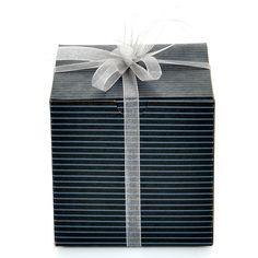 Set of 10 Black Pinstripe Gift Boxes (4x4x4') including Silver Organza Ribbon. Perfect for christmas ornaments, mugs, gifts, jewels, candy, cup cakes, donuts. ** Hurry! Check out this great item : Christmas Gifts