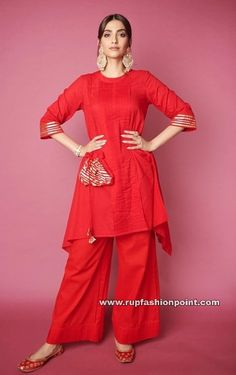 Sonam Kapoor is Back To Her Red Shades And We Are All Mesmerized With Her Fashion Forms - HungryBoo Indian Dresses, Indian Outfits, Western Dresses, Indian Attire, Indian Clothes, Indian Wear, Long Kurta Designs, Sustainable Clothing Brands, Fashion Forms