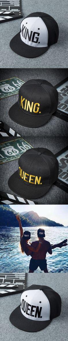 2017 Hot Sale KING QUEEN Embroidery Snapback Hat Acrylic Men Women Couple Baseball Cap Hip-hop Sport Cap 2 pieces each lot