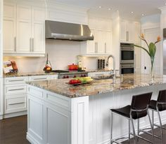 Our counter top with white cabinets!  Love the pulls too.
