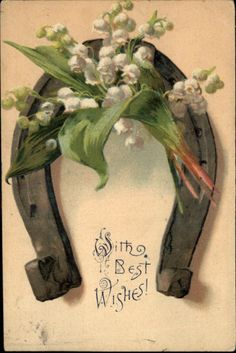 Horseshoe Lilies of the Valley Good Luck Embossed Greeting c1910 Postcard