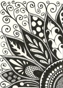 Zentangle flower doodle ATC