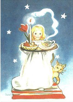Lucia by Martta Wendelin Vintage Christmas Images, Retro Christmas, Christmas Love, Christmas Pictures, Xmas, Winter Illustration, Christmas Illustration, Santa Lucia Day, Sainte Lucie