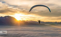 Sunset Paragliding above the Clouds by Christoph_Oberschneider Geo Magazin, Visit Austria, Above The Clouds, Paragliding, Skydiving, Extreme Sports, Anime Naruto, Explore, Sunset