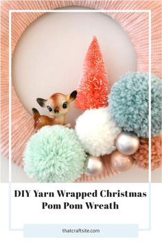 Looking for an easy and beginner-friendly Christmas DIY? Get step by step craft instructions to make your own yarn wrapped Christmas wreath! Let's Craft! thatcraftsite.com #christmasdecor #christmasdiy #handmadechristmas #christmaswreath Christmas Pom Pom, 1st Christmas, Christmas Wrapping, Handmade Christmas, Vintage Christmas, Christmas Wreaths, Christmas Crafts, Christmas Decorations, Glue Crafts