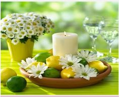 Adorable daisy, lemon, and lime centerpiece idea for your Candle Impressions Flameless Pillars! just remember to keep safe and go flameless! Remember: Candle Impressions has floating candles too! Lime Centerpiece, Candle Centerpieces, Centerpiece Ideas, Inexpensive Centerpieces, Centerpiece Flowers, Diy Flowers, Best Candles, Pillar Candles, Floating Candles