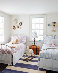 best use of periwinkle quilt ever. Shared Kids' Bedroom Design Plan (& A Lesson Learned)